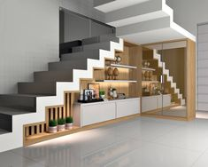 Modern Staircase in 2020 Staircase Storage, House Staircase, Modern Staircase, Kitchen Room Design, Home Room Design, Home Interior Design, Home Stairs Design, Interior Stairs, Bungalow House Design