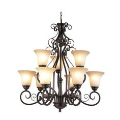 Bel Air Lighting 9-Light Oil Rubbed Bronze Chandelier with Antique Amber Scavo Glass-21059 ROB - The Home Depot