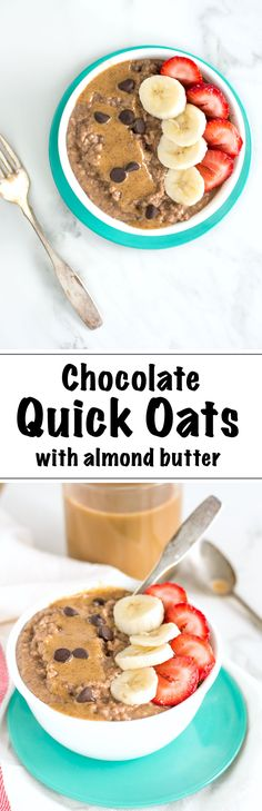 Chocolate Quick Oats with Almond Butter make for a super easy and delicious start to any fall morning. Best of all, creamy, chocolatey oats are gluten free, vegan-possible and are ready in just 3 minutes. | nourishedtheblog.com