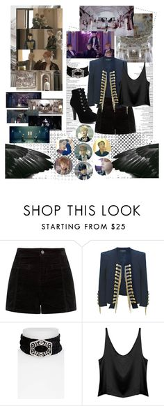 """BTS - Blood, Sweat & Tears"" by ninaxo17 ❤ liked on Polyvore featuring Balmain and Topshop"
