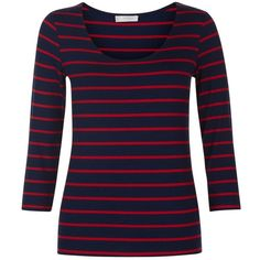 Hobbs Sophie Stripe Top, French Navy/Red (53 CAD) ❤ liked on Polyvore featuring tops, red stripe top, 3/4 length sleeve tops, jersey top, stripe top and layered tops