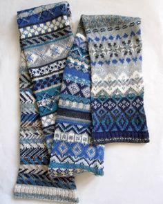 Long Blue Cotton Fair Isle Patchwork Scarf