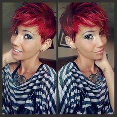 Court-Coiffures : Rouge! Le rouge est une couleur super belle! Regardez ces brillantes✨ vous aussi aller dames pour Red ! ❤ ❤