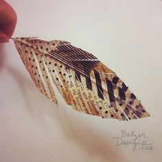 Book page feather - amazing!   Balzer Designs