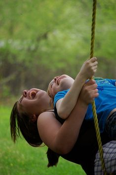 ".Mom & Child...Swinging With Smiles & Abandon...""How High Can You Go, Mommy?""...Cute, Sweet, Touching!!  An Ordinary Mother & Daughter...But Just As Special As Any Stars!!  Wonderful!!"