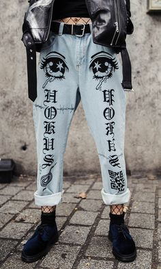"Ice blue vintage style, medium high rise jean. Slim mom style fit. Longer length to roll. Screen printed graphics. 100% Cotton. Model is 5'9"" and is wearing size M. Non-stretch denim. Order a size up for a more generous fit. WE SHIP WORLDWIDE! TAG YOUR PURCHASE: #disturbiaclothing IN STOCK & SHIPS WITHIN 24 HOURS"