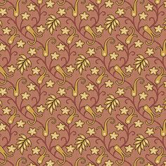 Caswell County - gold/cream flowers/brown vines on small red grid A-7678-TR