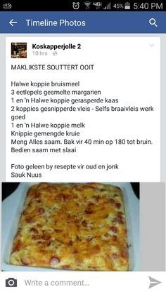 Sout tert Savory Snacks, Savoury Dishes, Savoury Tarts, Savory Scones, Kos, Quiche Recipes, Tart Recipes, Braai Recipes, Cooking Recipes