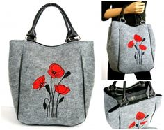 Kabelka Piknik - vlčie maky svetlo sivá 33-42x34x12cm Reusable Tote Bags, Shoulder Bag, Design, Clothes, Fashion, Craft, Manualidades, Bags, Purse