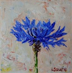 Bachelor's Button original tiny blue wildflower flower oil painting by Laura Saune