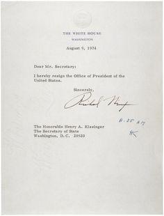 President Richard Nixon resigns  August 9, 1974