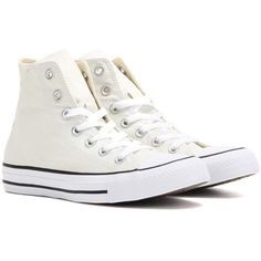 Converse Chuck Taylor All Star High-Top Sneakers ($81) ❤ liked on Polyvore featuring shoes, sneakers, white, star shoes, white trainers, white hi top shoes, converse trainers and white shoes