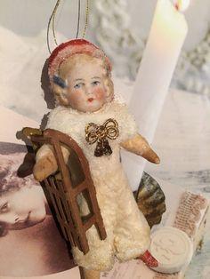 Wattefigur mit Porzellankopf,Wintermädchen für Federbaum, JDL, Shabby,Vintage | eBay