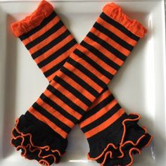Black & Orange Striped Ruffle knit Leg Warmers-Baby/Toddler Leg Warmer-Clothing-Photo Shoot-Birthday Pictures Halloween Costume Cake Smash by CutiePieParade on Etsy