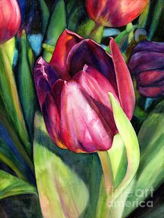 A vibrant and beautiful tulip watercolor painting by Hailey E. Herrera.