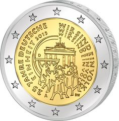 N♡T.2 euro: 25 Jahre Deutsche Einheit.Country:Germany Mintage year:2015 Face value:2 euro Diameter:25.75 mm Weight:8.50 g Alloy:Bimetal: CuNi, nordic gold Quality:Proof, BU, UNC