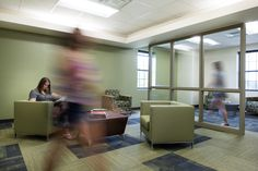Baylor South Russell Hall Refurbishment - corner rooms converted to daylit lounge space