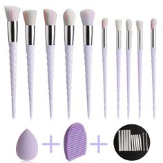 KDKD Unicorn Makeup Brush 10 Pcs Set Pink Face Cosmetic Tools with Sponge Cleaner Mesh Protector. KDKD Unicorn Makeup Brushes comb packing with soponge washing egg and mesh protector. Built in synthetic fiber, good elasticity, easy to clean, maintain in more convenient. Durable than animal bristles. eyes and lips make up. Perfect for both beginners and professional makeup artist. Sponge blender: dual use, dry wet available, on-latex material, non-allergenic and odor free makeup blender....