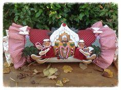 Cartamodelli ginger Natale 2014 : Cartamodello cuscino a cilindro con ginger e casetta pan di zenzero