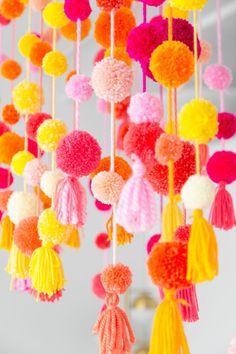 Thank You For Being A Friend: A Pom Pom Filled Friendsgiving Hanging Pom Poms, Pom Pom Garland, Tulle Poms, Tassel Garland, Tulle Tutu, Craft Stick Crafts, Crafts To Sell, Diy And Crafts, Pom Pom Crafts