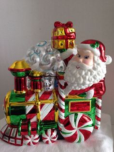 Christopher Radko for Starad Inc. Candy Cookie Jar Santa Train