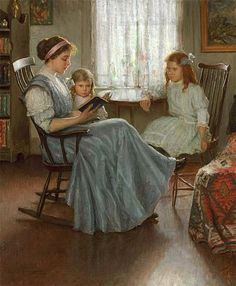"""""""Mother Reading with Two Girls"""" by Lee Lufkin Kaula (1865-1947)."""