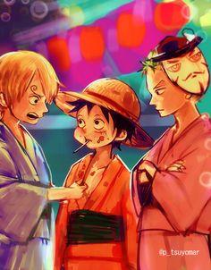 Sanji, Monkey D. Luffy,  Roronoa Zoro