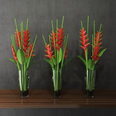 simple tropical heliconias table arrangements