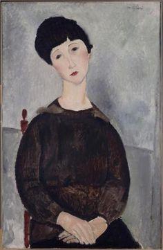 Young brunette girl sitting - Amedeo Modigliani