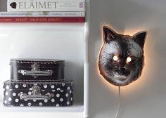 DIY Lamp. Glowin' animal head, a bizarre addition to any room. It's brilliant!