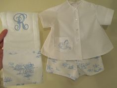Smock, Sew and Be Merry - wonderful blog with lots of cute boy clothes (some for girls too!) - love this toile fabric with coordinating shadow embroidery on the shirt