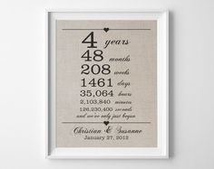 4 years together Linen Anniversary Print 4th by quillandflourish