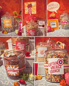 """super hero party - cereal buffet - """"rings of power"""", """"captain America crunch"""" love this idea. Birthday Party Snacks, Superhero Birthday Party, Snacks Für Party, Birthday Ideas, Birthday Breakfast, Sleepover Party, Birthday Fun, Avenger Party, Avengers Birthday"""