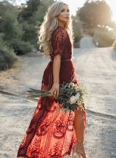 Deep V Neck Short Sleeve High Waist Lace Prom Dress OASAP.com