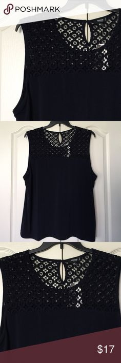Navy tank with lace yoke Navy tank with lace yoke. Armpit to armpit is 24 inches and length is 29 inches. Premise Tops Tank Tops
