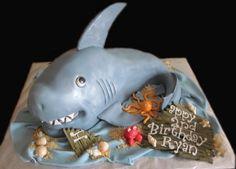 Shark birthday cake or unique grooms cake! Shark Birthday Cakes, Birthday Fun, Fun Cupcakes, Cupcake Cakes, Shark Cake, Sea Cakes, Fondant Animals, Shark Party, Ocean Party