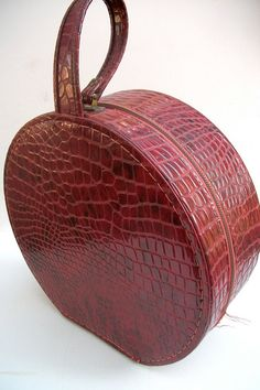Vintage Faux Crocodile Luggage Round Red Travel Case by folkcity, $29.00