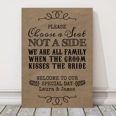 Wedding Choose a Seat Not A Sign Personalised by PurpleScrunch