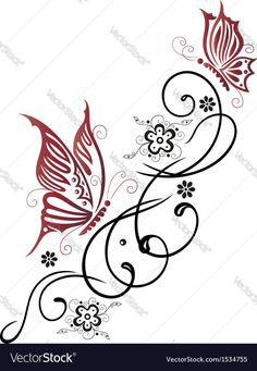 Feminine Filigree Tribal With Flowers And Butterfly Download A Free Preview Or High Quality