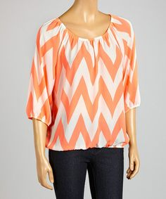 Love this Coral Neon Zigzag Top by ARIA FASHION USA on #zulily! #zulilyfinds