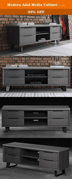 Modern Adal Media Cabinet - Concrete on Gray Oak. The Adal Media Cabinet lends a refined and modern feel to your entertainment or living room. It has a low profile and spacious storage with the long top portion, four soft-glide drawers, and double shelves for DVDs and Blu-Rays. Its no-nonsense design is complemented with the muted gray tone with angled black base. Complete your living room with this one-of-its-kind media cabinet.