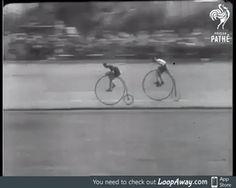 Racing on penny farthings in 1928