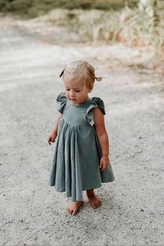 Handmade Sea Mist Linen Twirl Dress | MiyaAndMa on Etsy