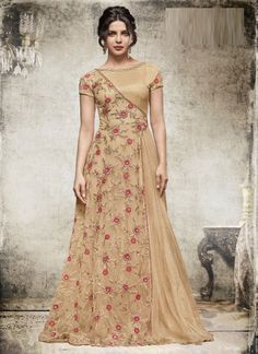 Beige Net Long Length Salwar Suits #gown #party wear #indian dresses