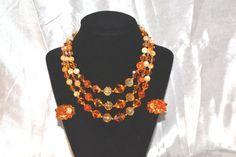 Vintage Orange 3 Strand Art Glass Demi by LustfulJewels on Etsy
