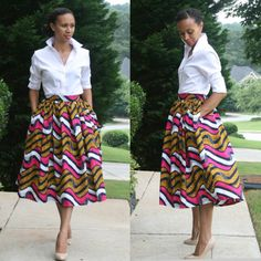 White shirt combo is very chic! African Print Midi Skirt by MelangeMode African Attire, African Wear, African Dress, Ankara Dress, African Women, African Style, African Inspired Fashion, African Print Fashion, Fashion Prints