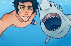 Percy and a shark. I can just imagine him taking pic to school. The looks on the peoples face. *lol*