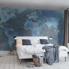 Painéis Fotográficos - Travel - Painel Fotográfico World Map, Blue
