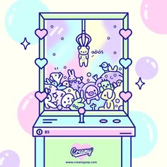 """creamymx: """"Every time I walk past a claw machine I feel observed, all of them plushies animals watching and waiting for me to rescue them Cute Animal Drawings Kawaii, Cute Kawaii Animals, Cute Drawings, Pop Art Wallpaper, Kawaii Wallpaper, Cartoon Wallpaper, Kawaii Doodles, Cute Doodles, Kawaii Art"""