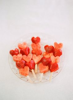 Valentine's Day can be healthy, too. Check out these heart-pops: strawberries and watermelon!